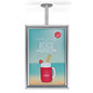 Silver flange mount ceiling sign frame for promotional advertisements