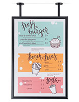 Dual flange anchor ceiling wide poster frame for marketing
