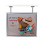 Dual flange ceiling graphics display frame for advertisements