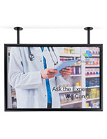 Dual flange pipe mount poster hanging frame for retail