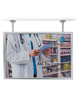 Flange dual pipe mount poster display frame for retail