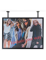 Single sided flange mounted ceiling graphics display frame