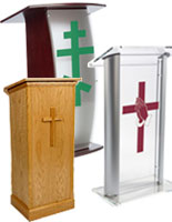 modern and traditional cross podiums