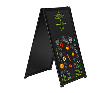 Custom printed graphics on a chalkboard a-frame sign.
