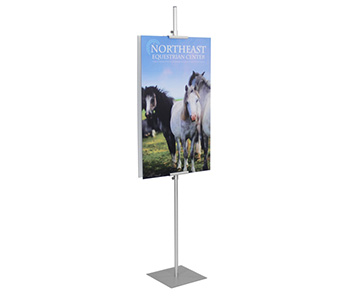 Custom printed floor standing sign holder.