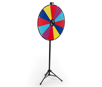 Floor standing prize wheel with multi-color panels.