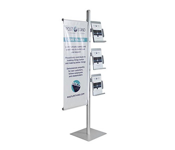Floor standing literature holder with custom printed graphics.