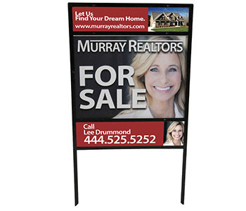 Real estate yard sign with custom printed graphics.