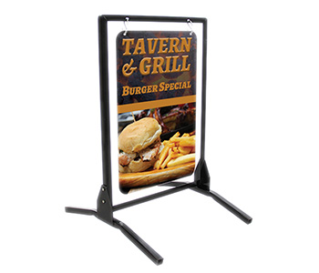 Swinging sidewalk sign holder with printed graphics.