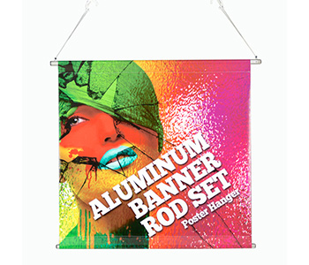 Custom printed poster hanging kit.
