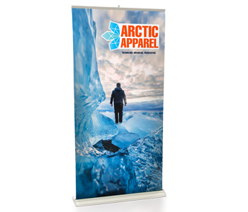 Retractable banner stand with high quality printing.