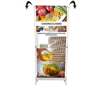 Electric scrolling banner stand demonstration image.
