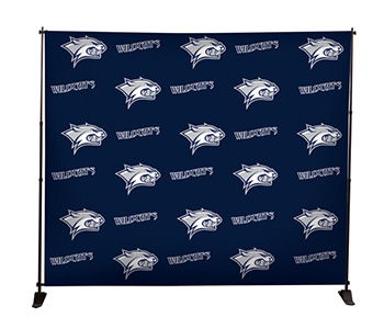 Printed step & repeat backdrop with black stand.