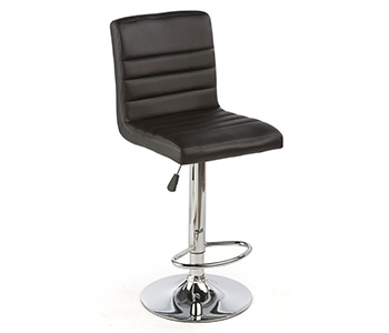 Black height adjustable leatherette bar stool.