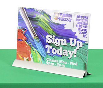 Custom printed table sign with impressive detail and information.