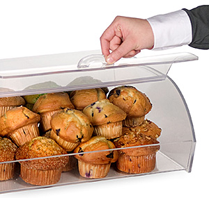 clear countertop bin filled with muffins