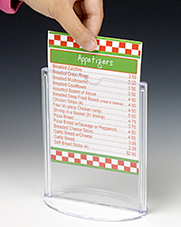Inserting a printed menu card into a clear acrylic table sign holder