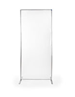 Clear room divider banner stand