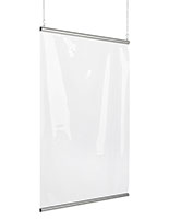 36 inch wide clear vinyl hanging shield divider with flexible design
