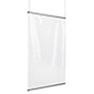 Clear vinyl hanging shield divider with silver snap rails