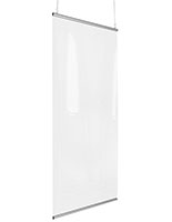 Snap on hanging sneeze guard with two silver snap rails