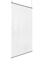 Flexible hanging PVC cashier shield includes two weighted snap rails