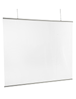 Clear hanging vinyl sneeze guard with satin silver banner brackets