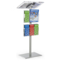 Silver Minimalist Lectern with Brochure Pockets Made of Acrylic