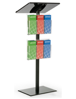 Floor Standing Black Minimalist Podium with Leaflet Pockets