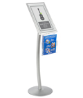 "11"" x 17"" Silver Sign Stand with Literature Pocket and Round Base"