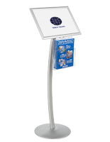 "17"" x 11"" Silver Sign Display with Literature Tray and Curved Post"