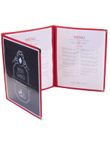 "Red 8.5"" x 11"" (3) Panel Clear Menu Covers"