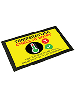 17 inch wide temperature station counter mat signage with non-slip bottom