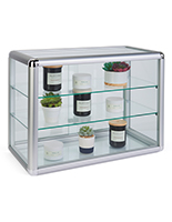 Tempered Glass Countertop Showcase with Aluminum Frame
