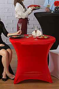 Cocktail party scene with stretch-fit table covers
