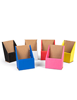 Multi colored cardboard brochure holders