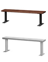 Steel and Wood Commercial Indoor Benches