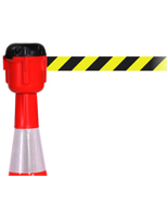 Cone Mounted Retractable Barrier with Stripped Belt