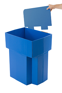 Corrugated dump bins with sign header