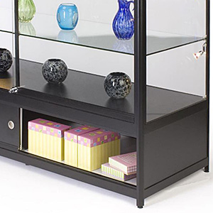 closeup of a counter showcase with bottom storage