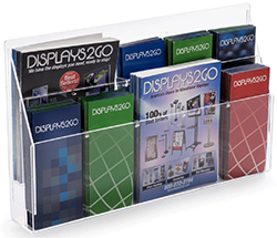 clear acrylic magazine display with adjustable pocket dividers