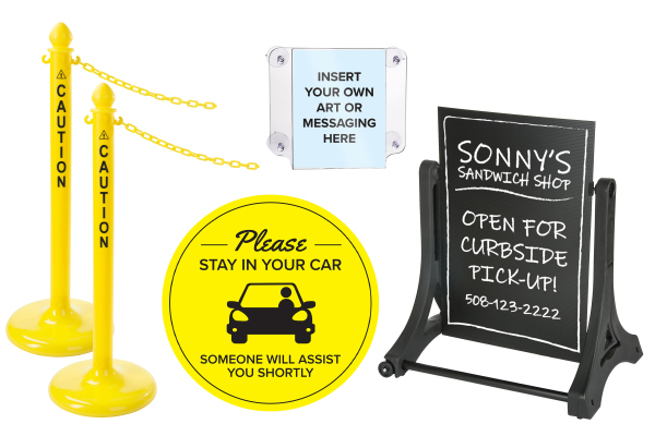 Coronavirus safety stanchion and signage bundles