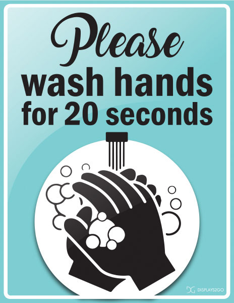 Please wash hands 20 seconds printable sign