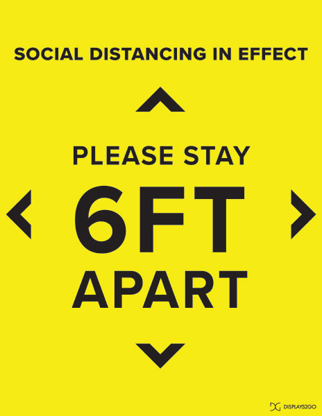 Stay 6 feet apart printable sign