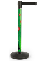 Seasonal printed stanchion with weighted base
