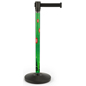 Seasonal printed stanchion with retractable belt