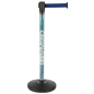 Custom Stanchion Post with Blue Belt and Retractable Band