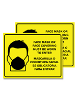 Bilingual Please Wear Face Mask social distancing signage with set of two