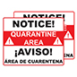 Bilingual quarantine posters with durable coroplast construction