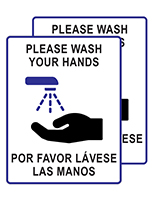 Bilingual handwashing posters made of thick coroplast material